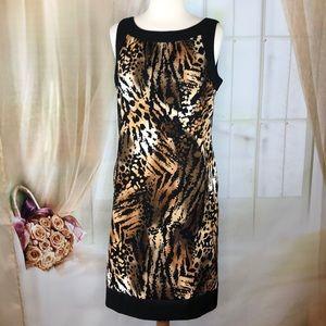 AB Studio Animal Print Sleeveless Dress